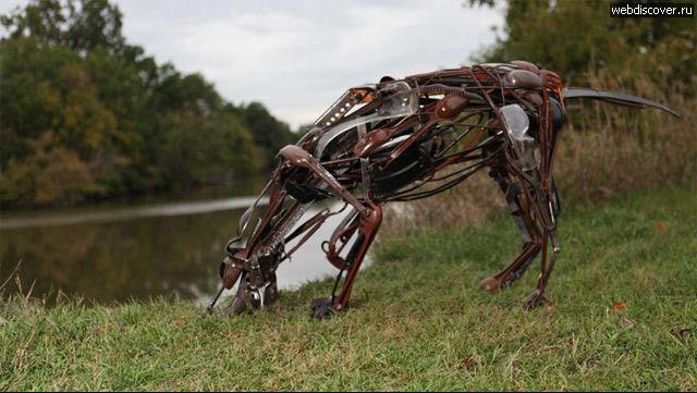 Скульптуры животных, сделанные из кухонных принадлежностей